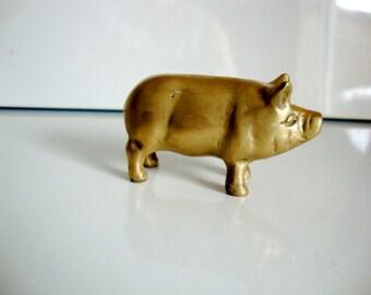 Brass Pig, Brass Figurine, Vintage Brass Pig,  Brass Animal, Brass Figurine, Brass Paperweight