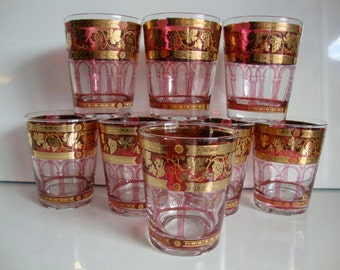 Ceres Glasses, PRICED by the PAIR, Pair Bar Ware Glasses, Tumbler Glasses, Pair Ceres Glasses, Golden Grapes on Burgundy