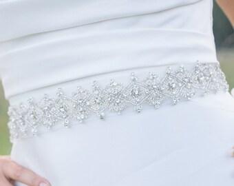 wedding rinhestone sash - Lenabelle