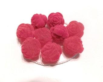 New 6 Velvet Red Roses Flowers Beads 16mm