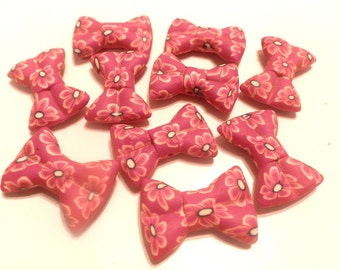 New 5 Beautiful Handmade Polymer Clay Tuxedo Flower Large Bow Beads 30mm Model 1