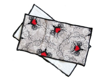 Damask Heart Flannel and Terrycloth Burp Rags, Ready to Ship