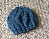 Newborn Deep Blue Gray Baby Beanie, Hospital Hat, Photo Prop, Infant Hat