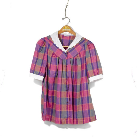 Purple Plaid Baby Doll Shirt White Collar By