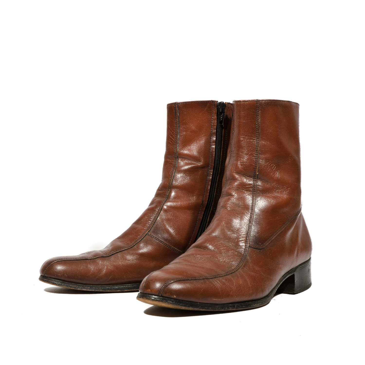 s mod zipper ankle boots brown leather dress shoes