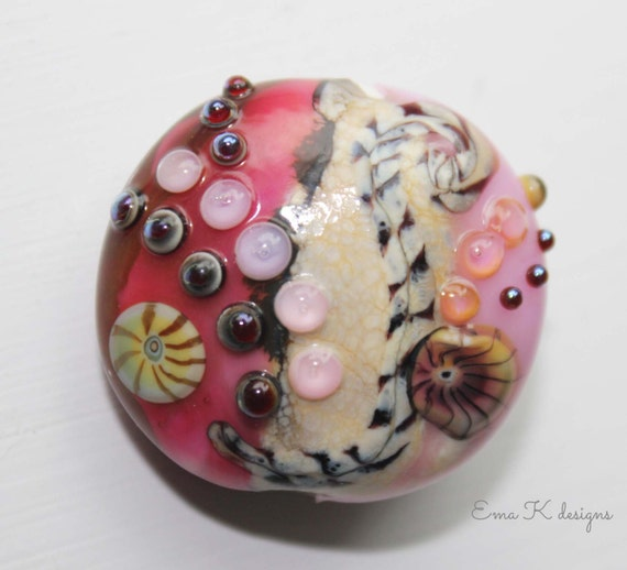 Kalypso Seas handmade lentil focal bead Large bead by Ema K sra srajd ooak pink bead