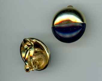 Vintage Gold and Black Enamel Button Clip Earrings