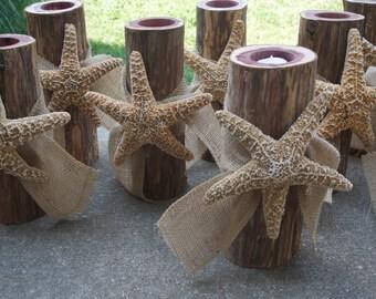 Bridal Shower Decor, Log Candle Holder, Starfish & Burlap Decor, 6 pcs