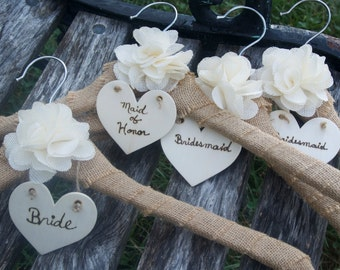 Rustic Wedding Dress Hanger,  Burlap Hanger, 5