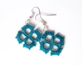 Teal Tatted lace earrings with glass beads Teal jewelry Deep turquoise earrings with square motifs - LandOfLaces