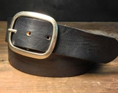 Black Leather snap belt - Handmade in USA - B100