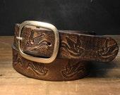 Bird Leather belt - Tattoo belt - distressed black belt - vintage belt