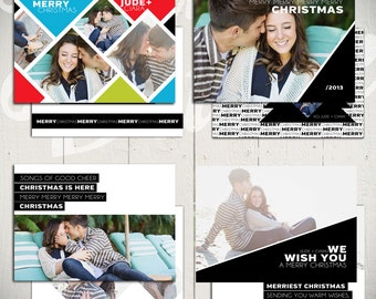 Christmas Card Templates: Angled Christmas - Set of Four 5x7 Holiday Card Templates for Photographers