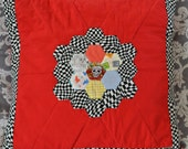 Flaming Skull and Cute Bunnies Quilted Patchwork Pillow (Cushion)