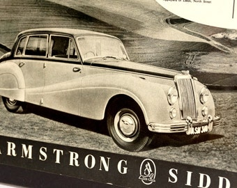 Vintage Armstrong Siddeley Sapphire Saloon Car Original Print Ad, Period Paper (1952) - Automobile Collectible, Ephemera