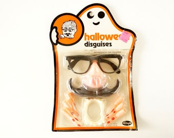 Vintage Halloween Disguises, Halloween Costume Collectible in Original Package (c.1970s) - Halloween Decor, Collectible Toy, Altered Art