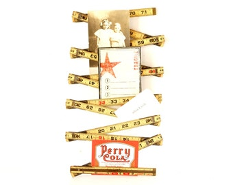 """Vintage Lufkin 72"""" Red End Folding Ruler with Brass Extension (c.1960s) - Collectible, Inspiration Board, or Altered Art Supply"""