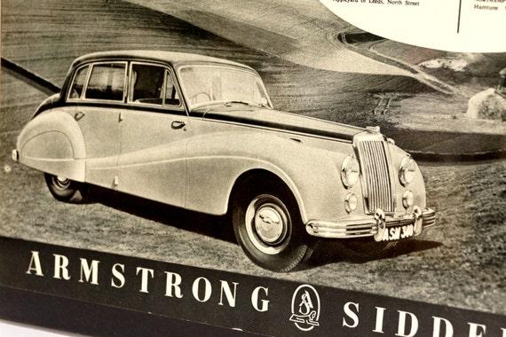 Vintage Armstrong Siddeley Sapphire Saloon Car Original Print Ad, Period Paper (1952) - Automobile Collectible, Ephemera
