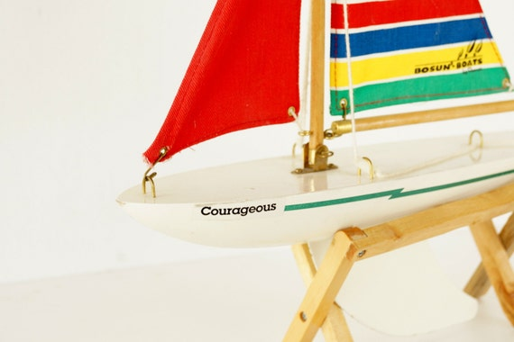 "Vintage Wood Pond Boat with Canvas Sail and Display Stand, Bosun Boats ""Courageous"" by Reeves - Collectible, Home Decor, Pond Toy"