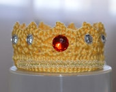 Crochet Baby Prince Crown - Handmade Tiara with Rhinstone Gems - Ecxellent Photo Prop or Wonderful Gift for Baby Shower