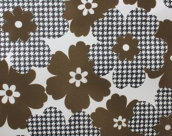 Retro Flock Wallpaper by the Yard 70s Vintage Flock Wallpaper - 1970s Brown Flock Floral and Black and White Houndstooth Flowers