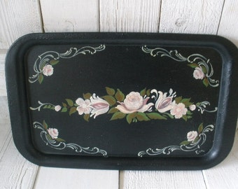 Vintage metal tray black floral hand painted flowers Cottage Shabby Chic