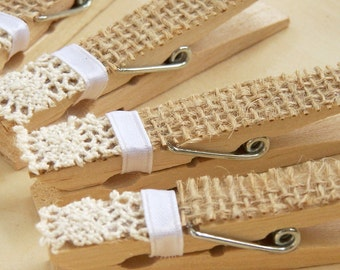 Burlap and Lace Clothespins, Pegs, DIY Wedding Accessory, Shabby Chic Wedding, Victorian Wedding, Country Wedding, NEW