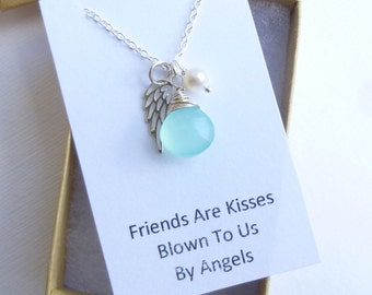 Sterling Silver Angel Wing Necklace with Gift Message... Friendship -- Bridesmaids -- Maid of Honor