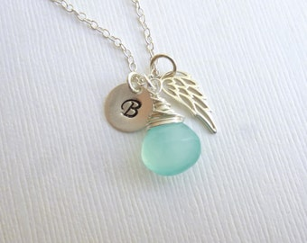 Sterling Silver Angel Wing Initial Necklace... Friendship -- Bridesmaids -- Maid of Honor