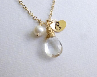 Birthstone Initial and Pearl Trio Gold Necklace -- on 14k Gold filled Chain -- White Topaz Shown