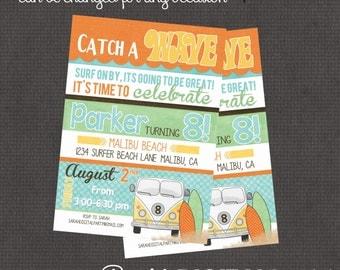 Surfer, Beach, Surfboard Invitation 4x6 or 5x7 digital you print your own- Design 80