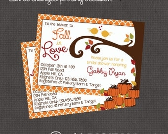 Fall in Love Bridal Shower Invitation 4x6 or 5x7 digital you print your own- Design 88