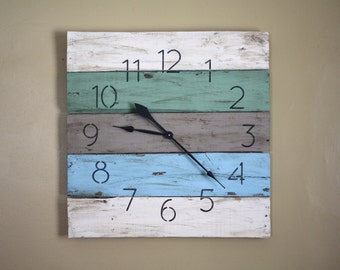 """26"""" by 26"""" Modern yet RUSTIC Beach House Clock. CUSTOM Colors. Made to Order.  Large Wall Clock. Reclaimed Pallet Wood. PALLET clock"""