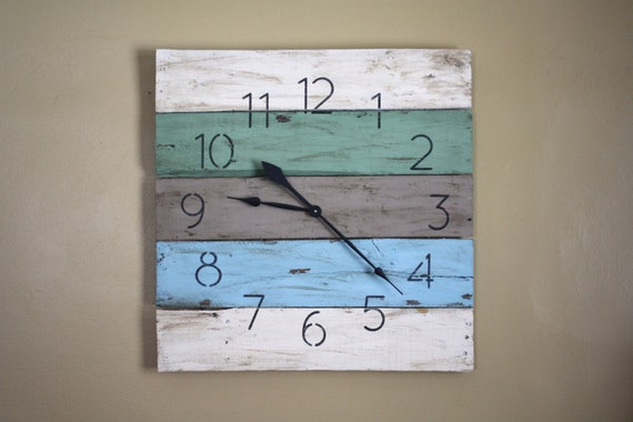 Rustic Beach Wood Clock