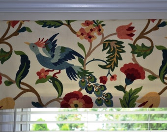 """Valance, window treatment, approximately 50"""" wide and 18"""" tall with lining, Richloom Lucy Eden Fabric, ready to ship, more available"""