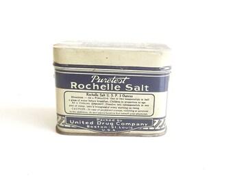 Vintage Antique Medicine Tin Medicinal Puretest Rochelle Salt Pharmacist Physician Collectible