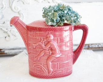 Vintage Watering Can - Sprinkling Can Pink Pottery