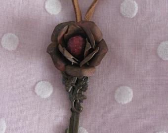 Vintage Key and Rose Flower Necklace
