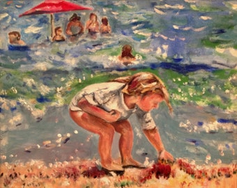 Sold Beach Girl  Little Girl Gathering Beach Shells  16x20 Original Oil Painting by Marlene Kurland Example seascape SOLD