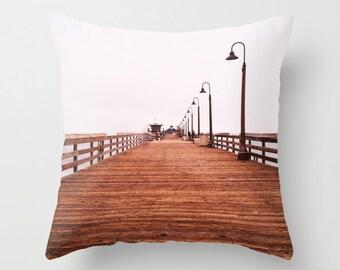 Nautical Pillow Decorative Throw Pillow, Brown Home Decor, San Diego Imperial Beach Pier, Beach Pillow, Beach Decor