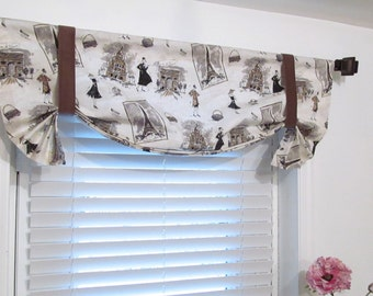 French Vintage Inspired Tie Up Curtain Valance Waverly Tres Chic Panther/ Custom Sizing Available!