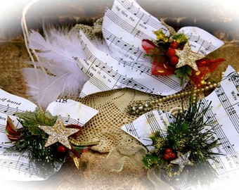 White Feather Dove Ornaments Sheet Music Shabby Chic SET of 9 each one is unique