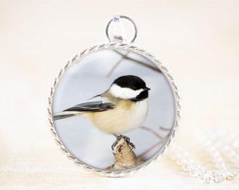 Chickadee Necklace Silver - Chickadee Bird Jewelry Pendant, Silver Chickadee Jewelry, Winter Bird Necklace, Silver Bird Jewelry