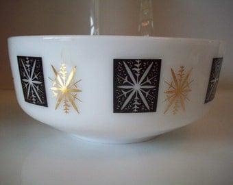 Federal Milk Glass 3 1/2 Quart Black and Gold Snowflake Bowl