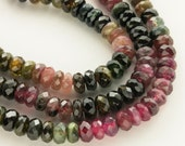 Watermelon Tourmaline Beads, Faceted Rondelle Beads 7mm - Half strand