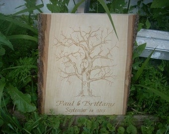 Laser engraved fingerprint tree, wedding present, wedding gift, print tree, guest book, shower gift, personalized wedding gift, custom tree