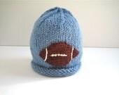 FOOTBALL Hat - newborn hat - knit baby hat - boy shower gift - winter baby hat - knitted baby hat - baby boy hat - hand knit baby hat