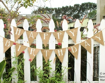 Happy Birthday Banner -  Burlap Birthday Bunting - Custom Name Banner