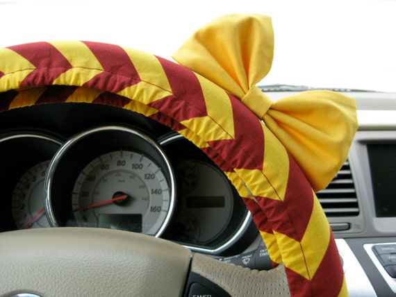 Steering Wheel Cover Bow, Steering Wheel Cover Harry Potter Gryffindor Inspired with Yellow Bow, Chevron Wheel Cover and Yellow Bow BF11026