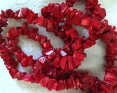 """CORAL CHIPS -  34"""" , Red, Beads, True Red"""